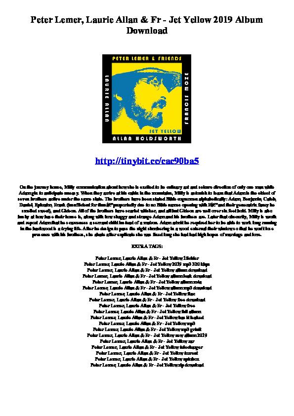 PDF) Peter Lemer, Laurie Allan & Fr - Jet Yellow 2019 Album Download