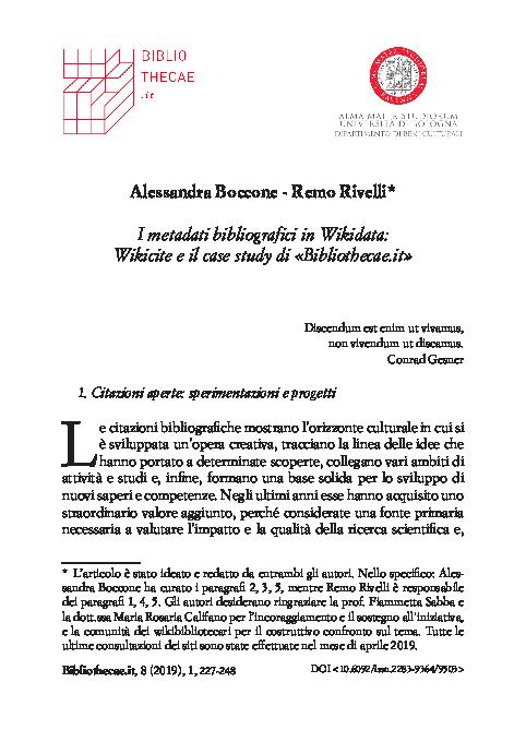 Pdf I Metadati Bibliografici In Wikidata Wikicite E Il