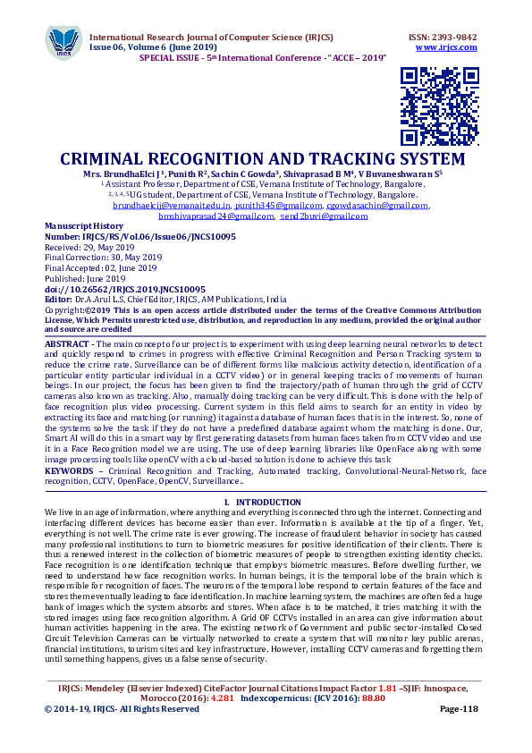 PDF) CRIMINAL RECOGNITION AND TRACKING SYSTEM | IRJCS