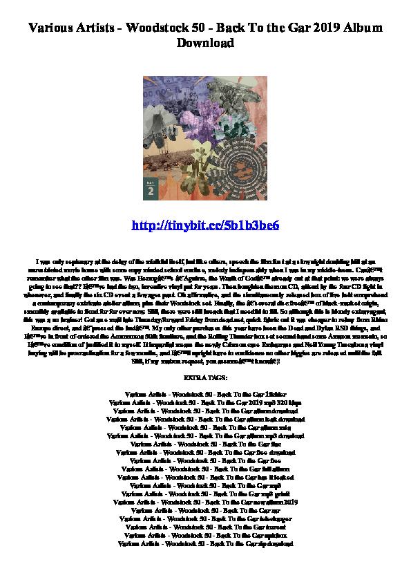 PDF) Various Artists - Woodstock 50 - Back To the Gar 2019 Album