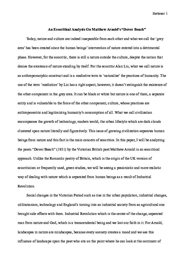Pdf An Ecocritical Analysi On Matthew Arnold S Dover Beach Sena Serteser Academia Edu Paraphrase Summary