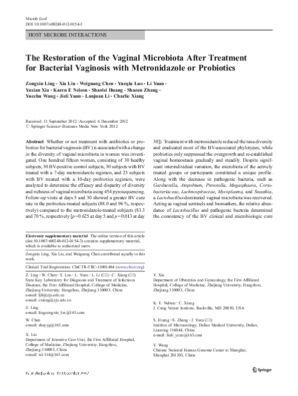 PDF) The Restoration of the Vaginal Microbiota After