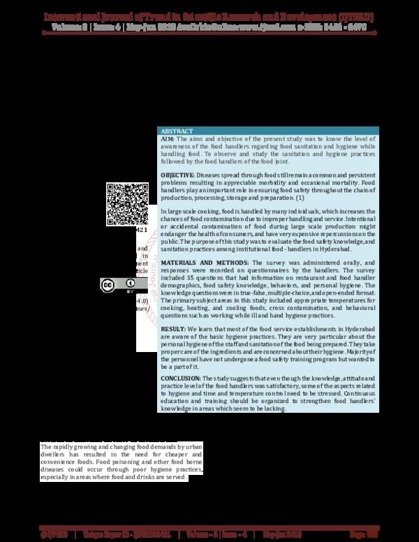 PDF) Food Sanitation and Hygiene Practices among Food
