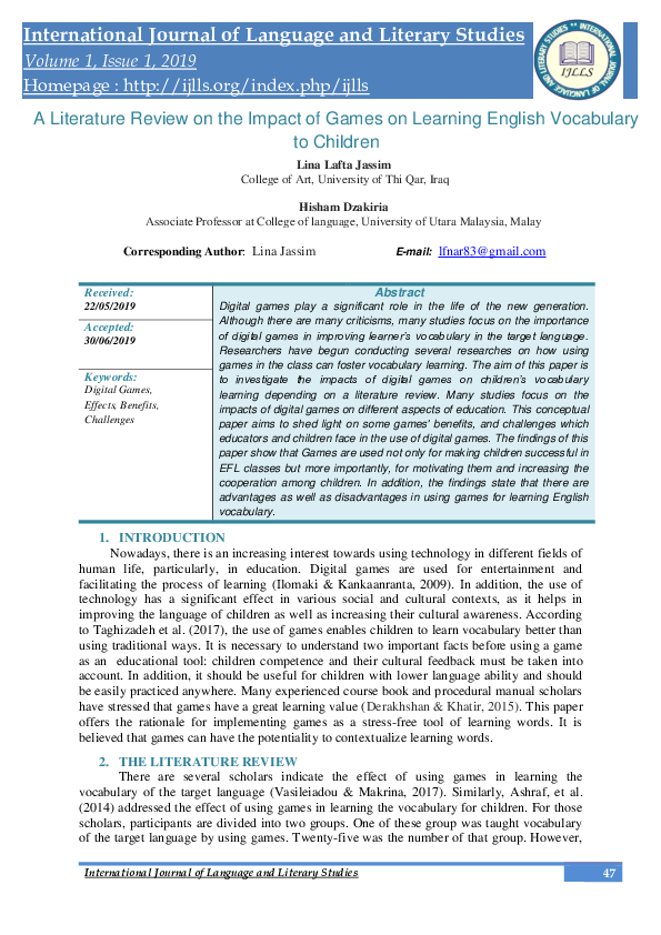 PDF) A Literature Review on the Impact of Games on Learning