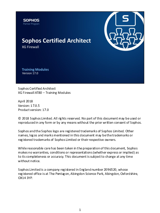 PDF) Sophos Certified Architect XG Firewall AT80 -Training