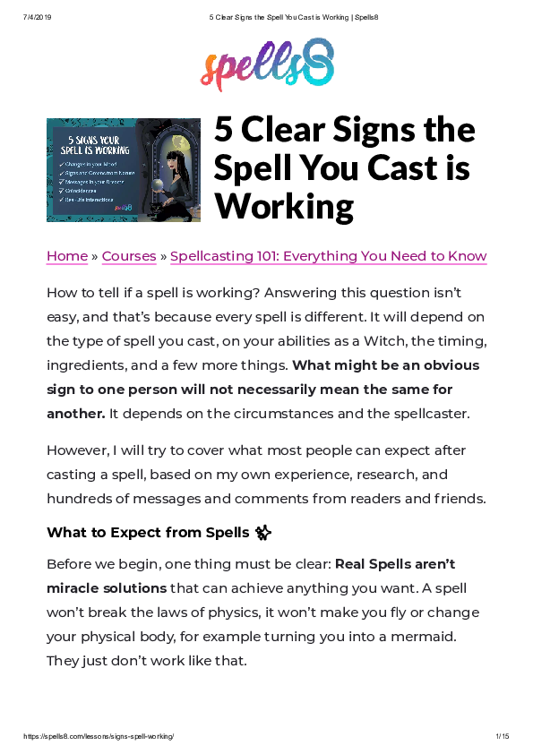 PDF) 5 Clear Signs the Spell You Cast is Working Home » Courses