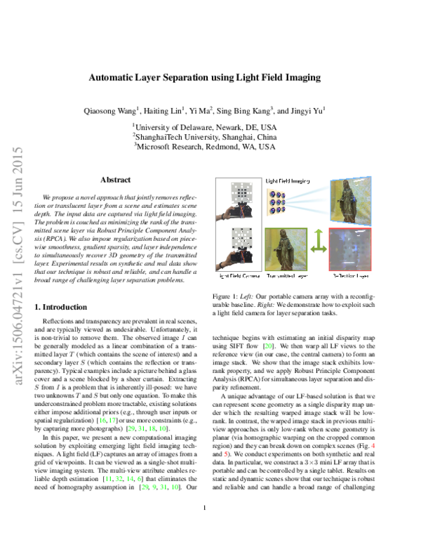 PDF) Automatic Layer Separation using Light Field Imaging