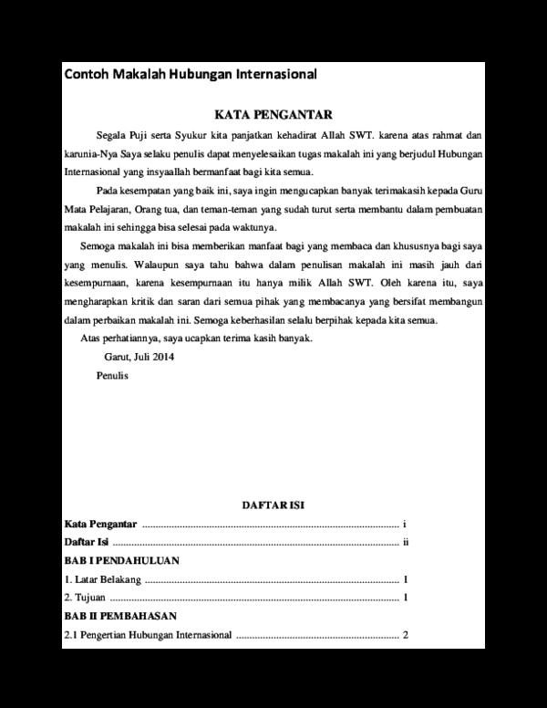 Doc Contoh Makalah Hubungan Internasional Prabowo Jokowi Academia Edu