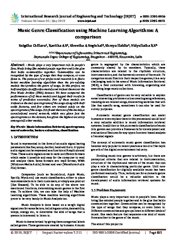 PDF) IRJET- Music Genre Classification using Machine