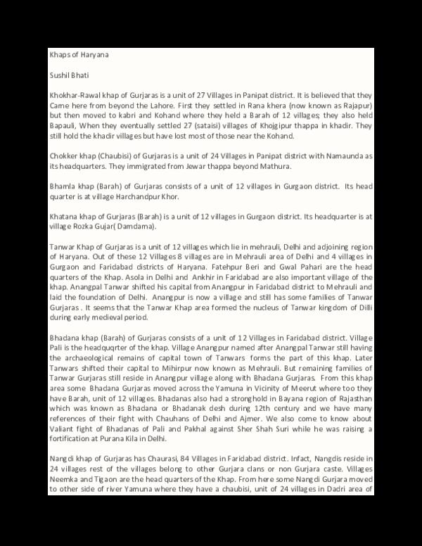 DOC) Khaps of Haryana | Sushil Bhati - Academia edu