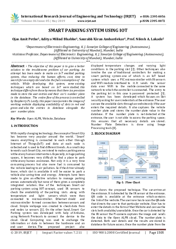 PDF) IRJET- SMART PARKING SYSTEM USING IOT | IRJET Journal