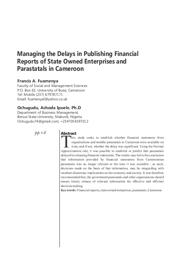 PDF) Managing the Delays in Publishing Financial Reports of