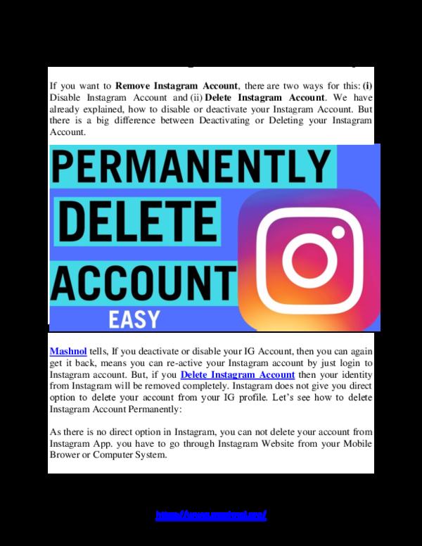 INSTAGRAM DEACTIVATE - Delete Guide for instagram