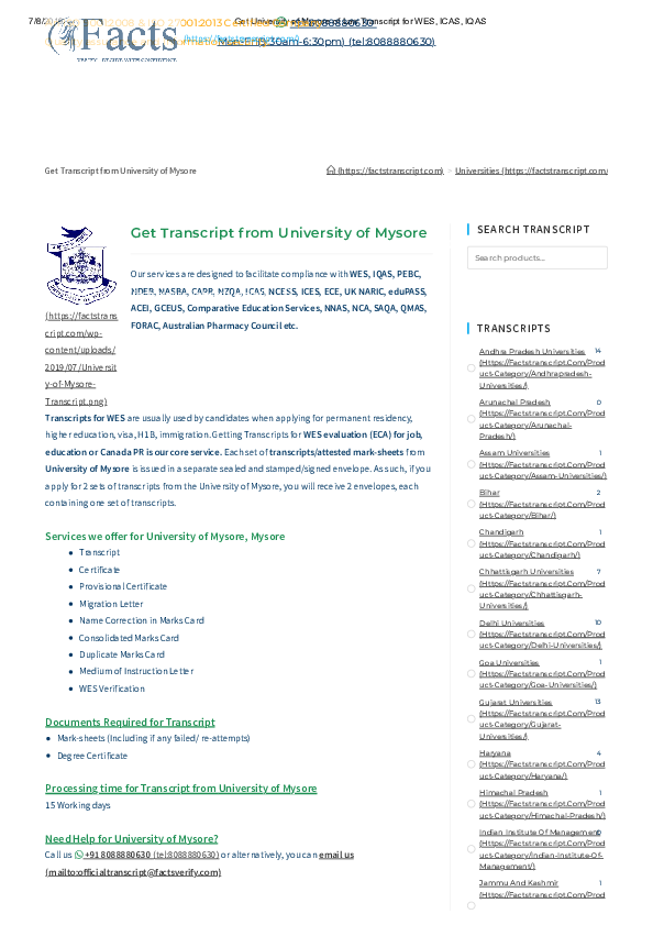 PDF) Get University of Mysore of Law Transcript for WES ICAS