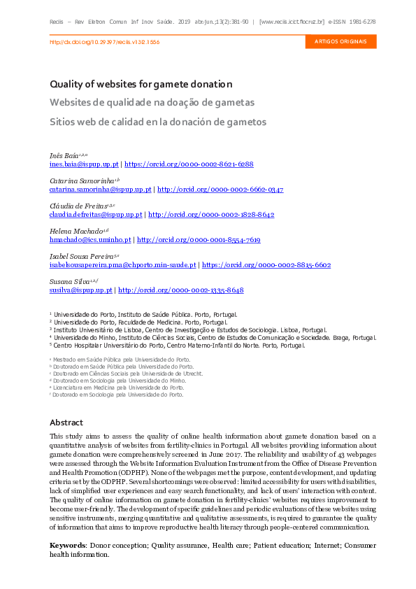 PDF) Quality of websites for gamete donation   Inês Baía