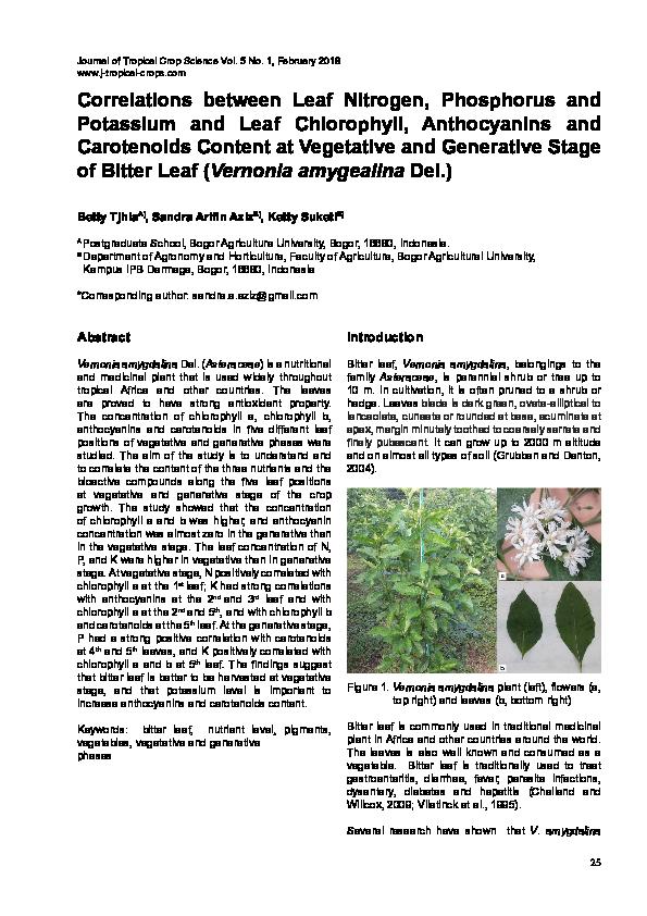 PDF) Correlations between Leaf Nitrogen, Phosphorus and