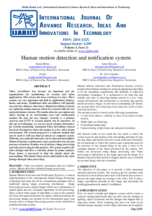 PDF) Human motion detection and notification system