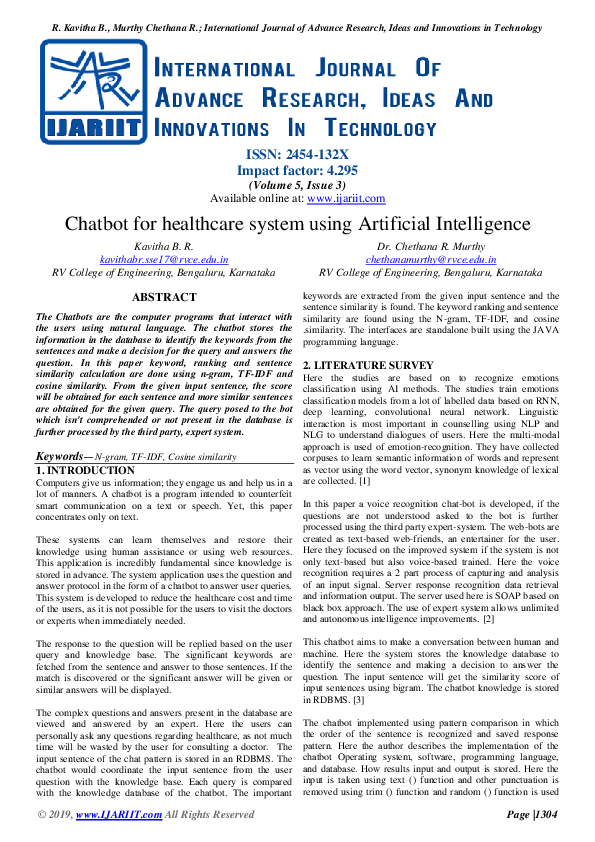 PDF) Chatbot for healthcare system using Artificial