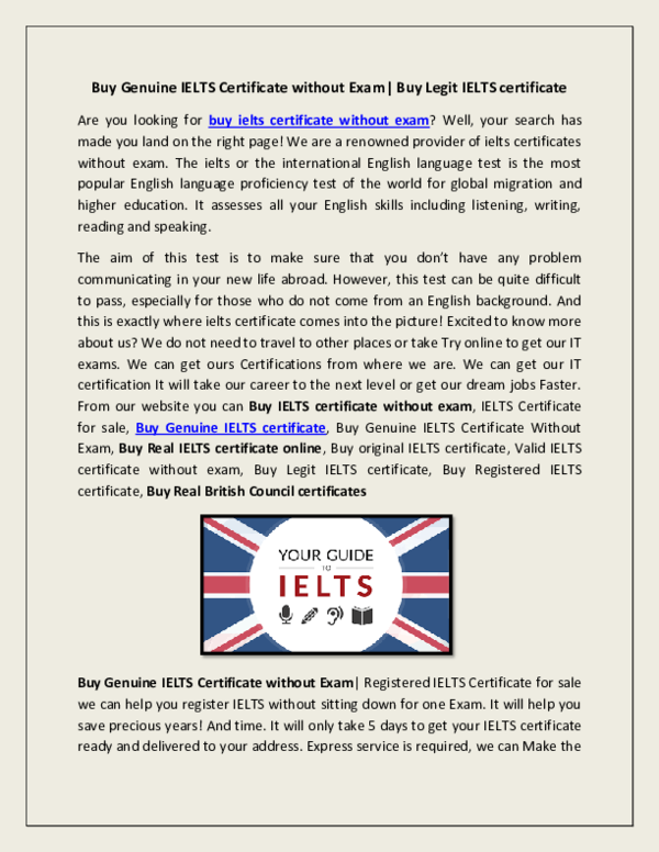 PDF) Buy Genuine IELTS Certificate without Exam| Buy Legit IELTS