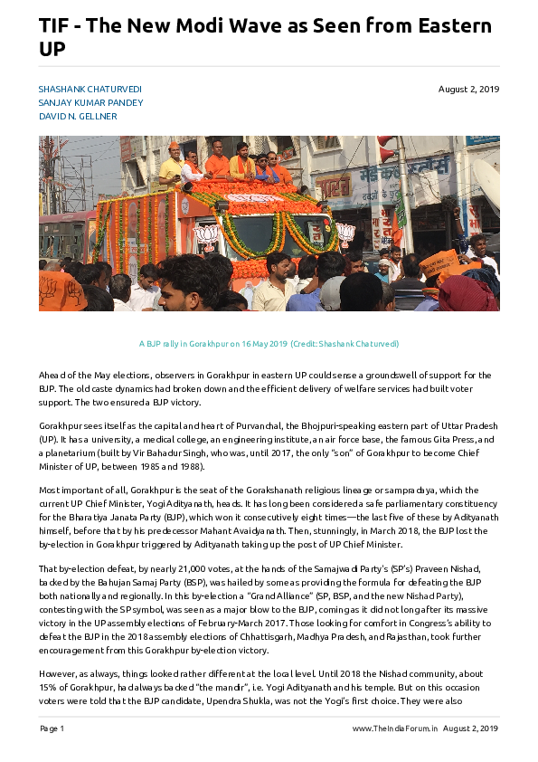 PDF) TIF -The New Modi Wave as Seen from Eastern UP | David