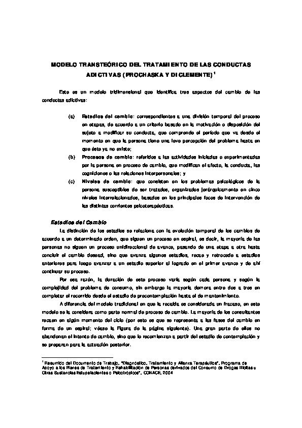 Pdf Modelo Transteórico Del Tratamiento De Las Conductas