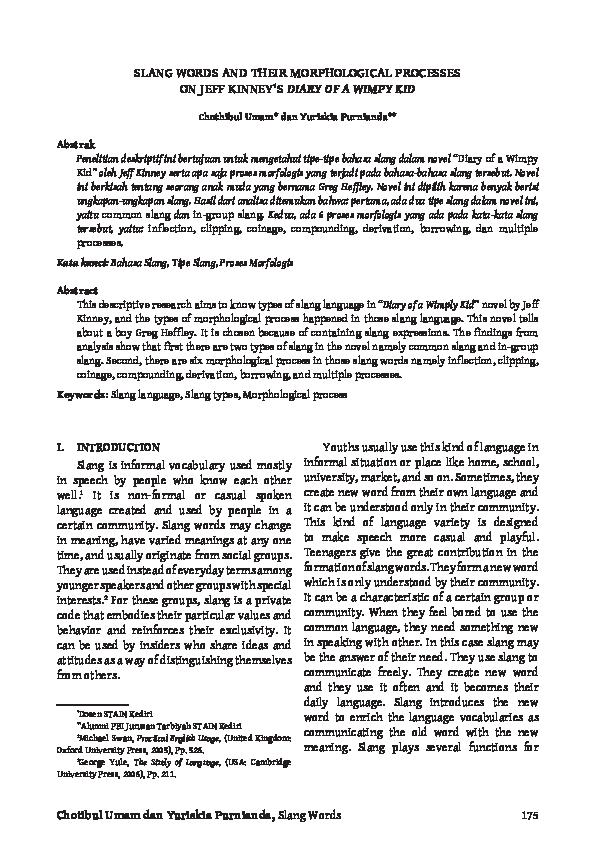 Pdf Slang Words And Their Morphological Processes On Jeff Kinney S Diary Of A Wimpy Kid Chothibul Umam Academia Edu
