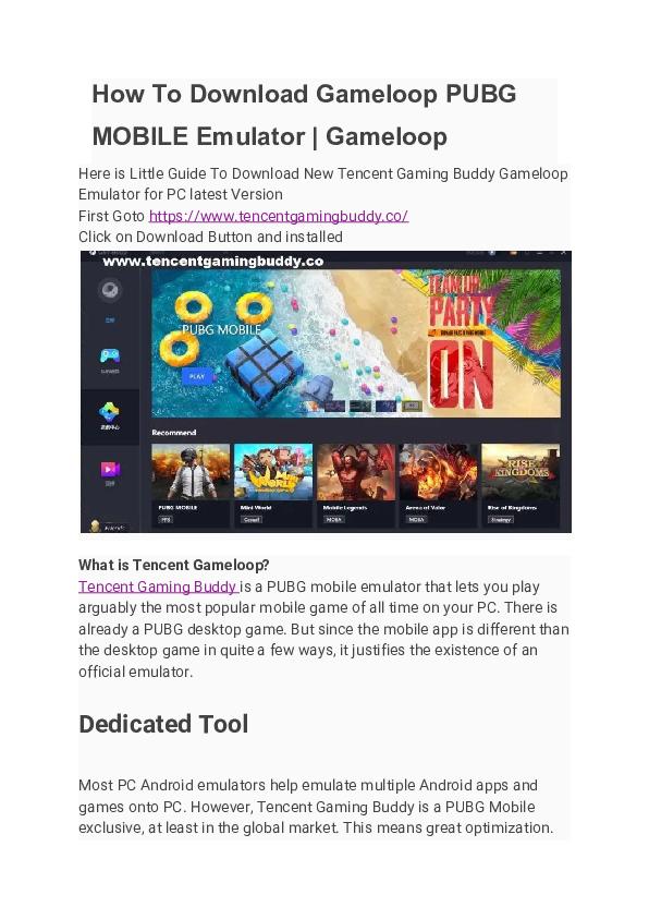 PDF) How To Download Gameloop PUBG MOBILE Emulator