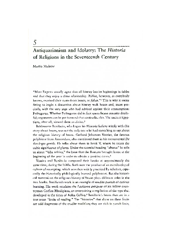 Pdf Antiquarianism And Idolatry The Historia Of Religions In The Seventeenth Century Martin Mulsow Academia Edu