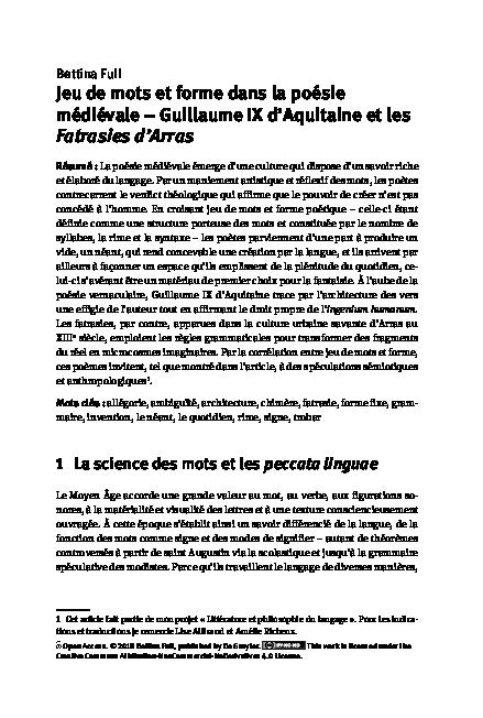 Pdf Jeu De Mots Et Forme Dans La Poésie Médiévale