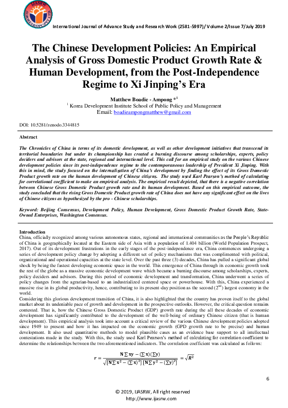 PDF) The Chinese Development Policies: An Empirical Analysis