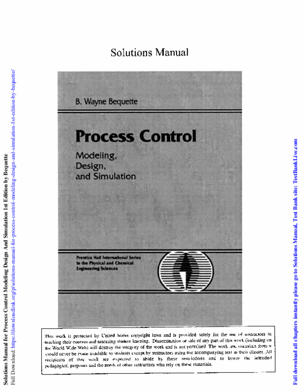PDF) Solutions Manual for Process Control Modeling Design And