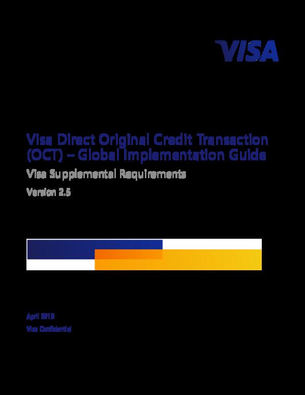 PDF) Visa Direct Original Credit Transaction (OCT) -Global