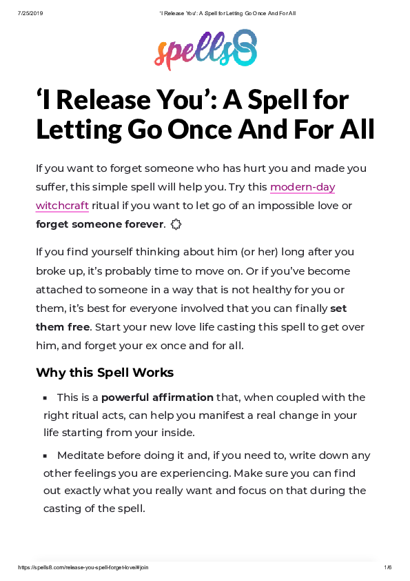 PDF) 'I Release You': A Spell for Letting Go Once And For