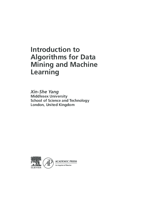 PDF) Introduction to Algorithms for Data Mining and Machine