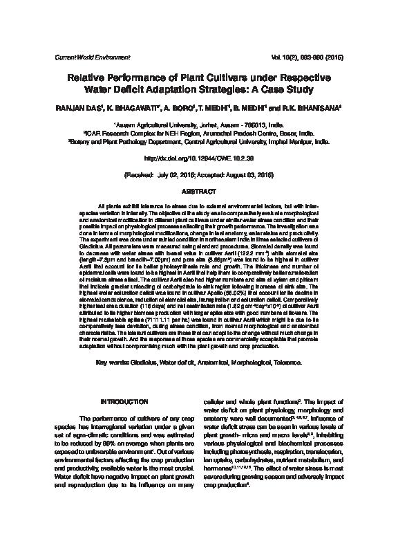 PDF) Relative Performance of Plant Cultivars under