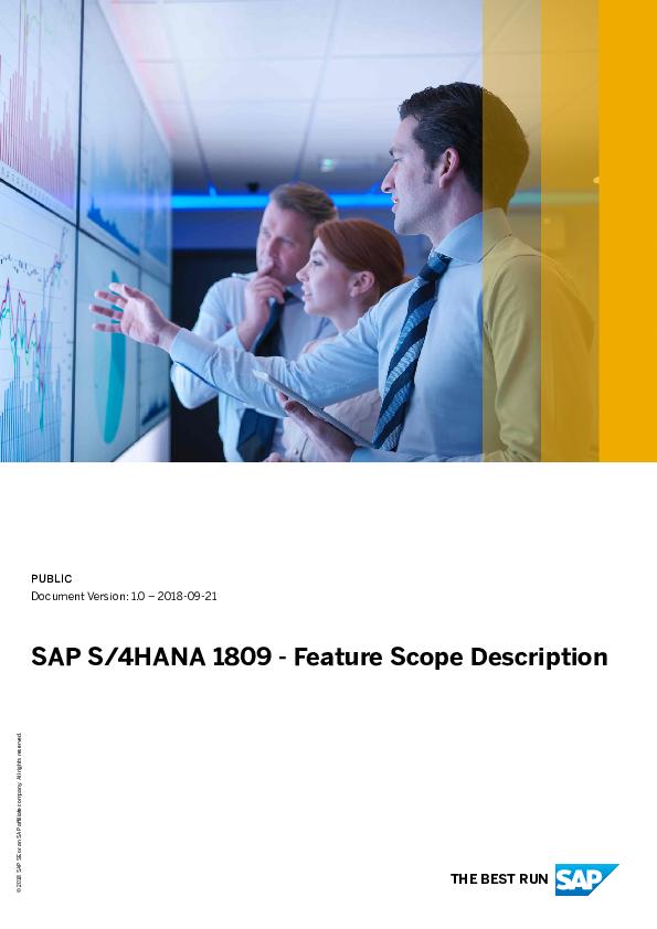 PDF) SAP S/4HANA 1809 -Feature Scope Description THE BEST