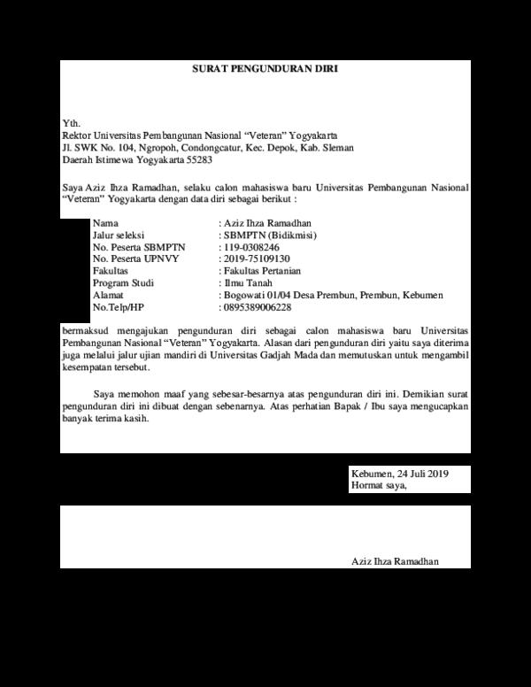 Surat Pengunduran Diri Peserta Ujian Nasional - Contoh ...