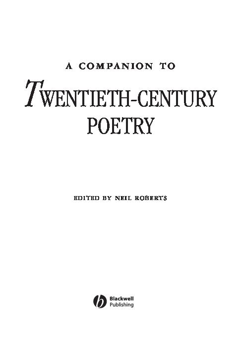 Pdf Twentieth Century Poetry Edited By Neil Roberts
