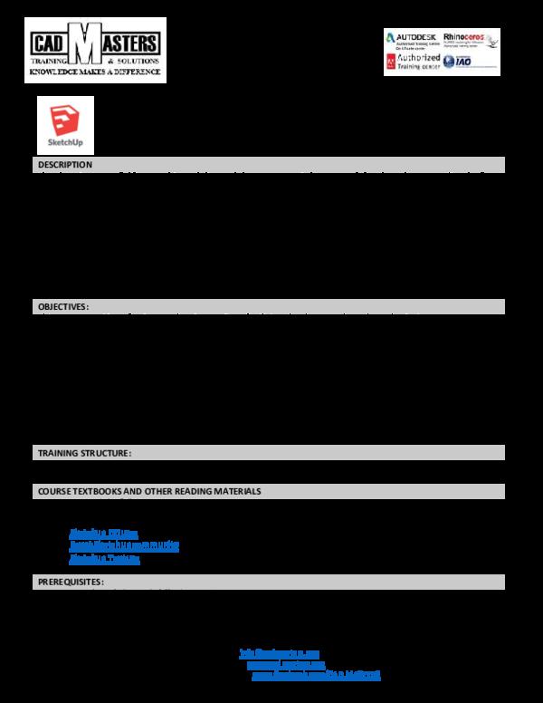 PDF) SketchUp 2016 + Lumion 6 + Vray 2 02 + Plugins Training