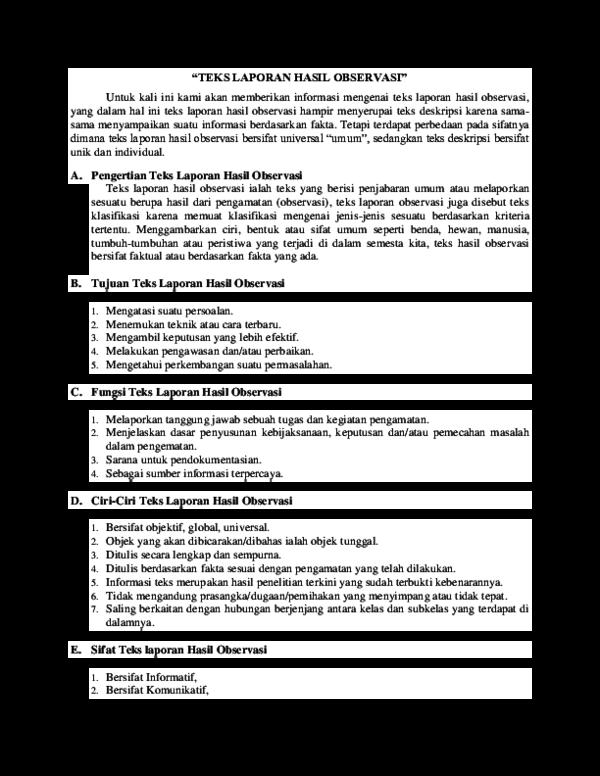 Doc Teks Laporan Hasil Observasi Devi Smantin Academia Edu