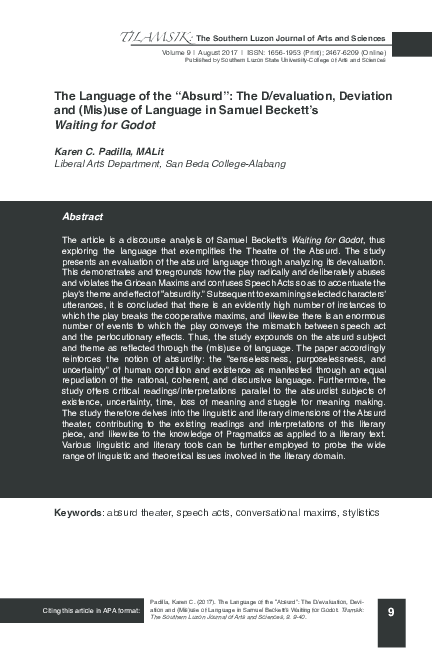 Pdf The Language Of The Absurd The D Evaluation Deviation And Mis Use Of Language In Samuel Beckett S Waiting For Godot Karen Padilla And Tilamsik The Southern Luzon Journal Of Arts And Sciences