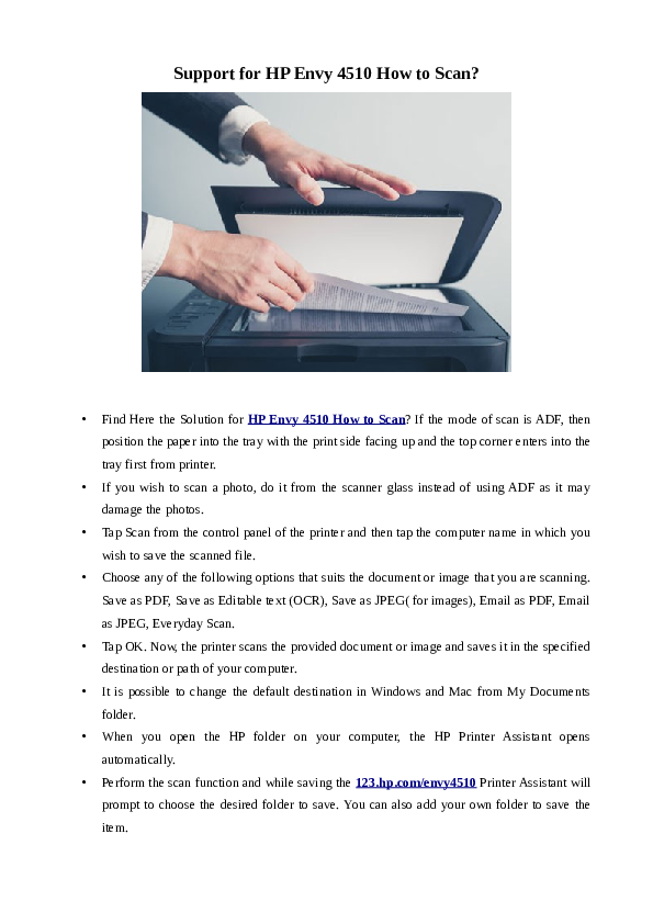 PDF) Avail Quick Steps For How to Scan On HP Envy 4510 Printer