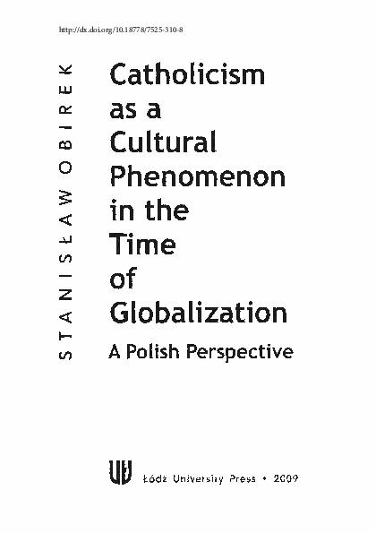 Pdf Catholicism As A Cultural Phenomenon Stanisław M
