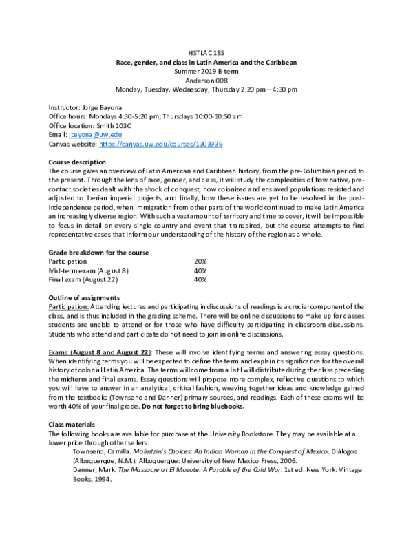 PDF) Syllabus - HSTLAC 185 - SUM 2019 (University of