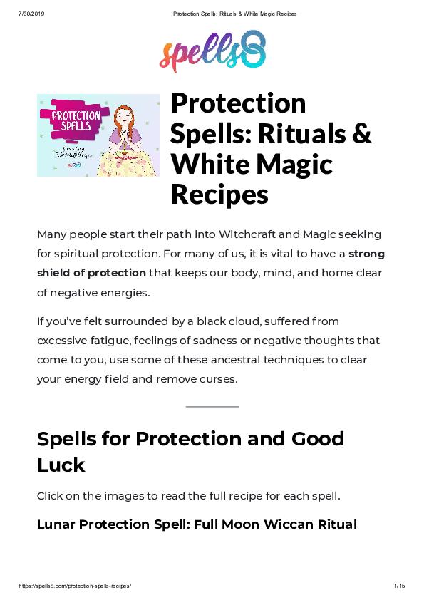 PDF) Protection Spells: Rituals & White Magic Recipes Spells