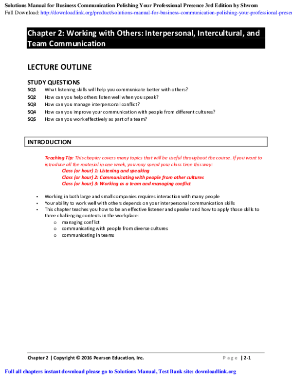 PDF) Solutions Manual for Business Communication Polishing Your