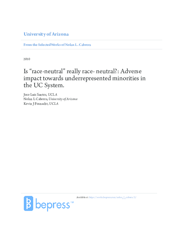 "PDF) Is ""race-neutral"" really race- neutral?: Adverse impact"