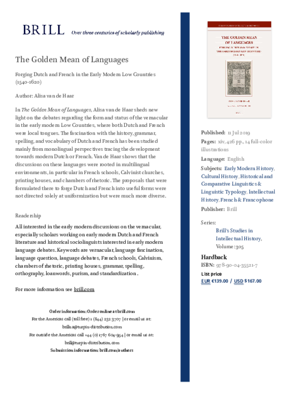 PDF) The Golden Mean of Languages: Forging Dutch and French