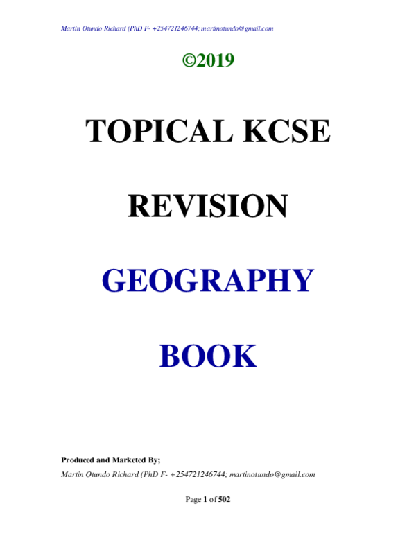PDF) TOPICAL KCSE REVISION GEOGRAPHY BOOK Produced and Marketed By