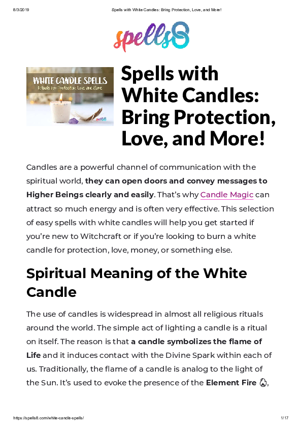 PDF) Spells with White Candles: Bring Protection, Love, and